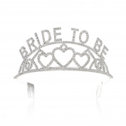 SWEETV Rhinestone Bride to Be Tiara Crown - Bachelorette Party or Bridal Shower Hair Jewellery