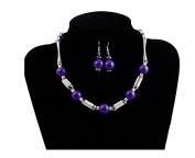 TFXWERWS Charming Women's Bones Beads Necklace Hook Earrings Jewellery Set