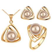TFXWERWS Elegant Lady Triangular Pendant Necklace Earrings Ring Pearl Jewellery Set