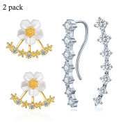 Rhinestone Clip On Earrings For Women Silver Plated Zirconia Crawler Climber Stud Ear Cuffs Gift