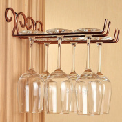 2 Rows Stainless Steel Wine Glass Rack Hanger Bar Home Cup Glass Holder Bronze