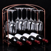 Wine Rack Holder Storage Iron Shelf Upside Down Cup Holds 4 Bottle & 8 Glass Cup