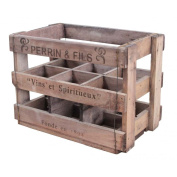 Vintage Style 6 Bottle Wine Crate Box Rack Holder Champagne Recycled Wood