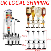 Wall Mounted 4 Bottle Stand Optic Dispenser Drinks Wine Spirits Steel Bar Butler