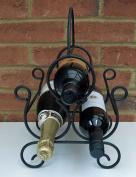 Vintage Metal 3 Bottle Wine Rack Glass Bottle Holder Storage Storage Display New