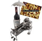 "Brubaker Wine Bottle Holder ""vacationer"" Metal Sculpture - With Greeting"