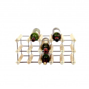 Minghou Natural Pine Wood Black Iron Wine Bottle Holder Rack Display Stand Wood