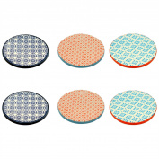 Patterned Tea / Coffee Drinks Coaster - Round - Multi Colour - X6