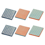 Patterned Tea / Coffee Drinks Coaster - Square - Multi Colour - X6