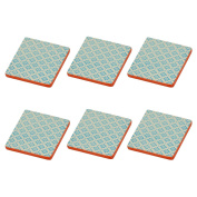Patterned Tea / Coffee Drinks Coaster - Square - Blue / Orange Design - X6