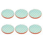 Patterned Tea / Coffee Drinks Coaster - Round - Blue / Orange Design - X6