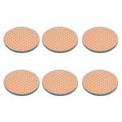 Patterned Tea / Coffee Drinks Coaster - Round - Orange / Blue Design - X6
