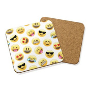 Emoji Faces Drinks Coaster Mat Cork Square Set X4