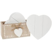 6 X Vintage Shabby Chic Wooden Heart Coasters 62216