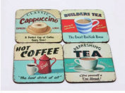 Martin Wiscombe 4 X Hot Drinks Design Coasters Mats Tea Coffee Chocolate Boxed