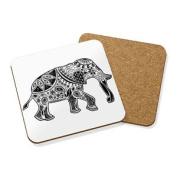 Black Aztec Elephant Drinks Coaster Mat Cork Square Set X4