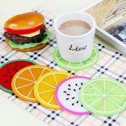 Abodellen Fruit Images Round 6pcs Colourful Silicone Coasters Cup Placemat Mat