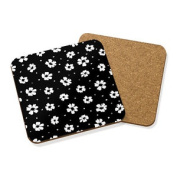 Black And White Floral Drinks Coaster Mat Cork Square