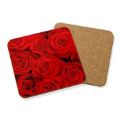 Red Roses Drinks Coaster Mat Cork Square Set X4