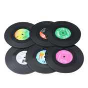 Enjoydeal 6x Retro Cd Record Vinyl Coffee Drink Cup Mat Coasters Chic Silicone