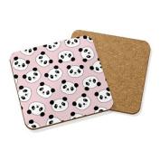 Panda Faces Drinks Coaster Mat Cork Square Set X4