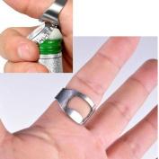 Stainless Steel Ring Bottle Opener Easy Finger Thumb Compact Pocket Key Ring