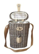 Bottle Carry Wicker Basket (insulated) With Corkscrew. Willow With Antique Wash