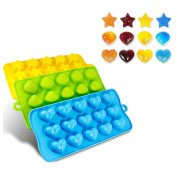 Cisixin Candy Moulds & Ice Cube Trays - Hearts, Stars & Shells - Silicone Mould -
