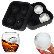 ULTRICS® Ice Ball Maker Mould. 4 Round Premium BPA FREE Silicon Ice Round Maker Mould Perfect for Whiskey, Highball, Cocktail or Liqueur Glasses and any kinds of Drinks.