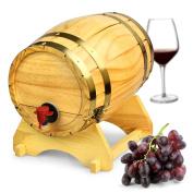 Wooden Wine Barrel Dispenser Natural Pine 5 Litre - Vintage Style Tabletop Wine