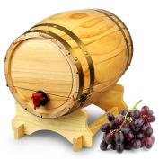 Wooden Wine Barrel Dispenser Natural Pine 10 Litre - Vintage Style Tabletop Wine