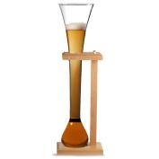 Glass Half Yard of Ale with Stand | bar@drinkstuff Half Yard Glass on Birch Wood Stand