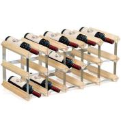 15 Bottle Light Natural Pine Assemble Wooden Wine Rack Wood Storage Traditional