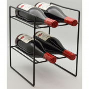 4 Bottle Compact Freestanding Black Metal Wine Rack - Perfect For Small Spaces