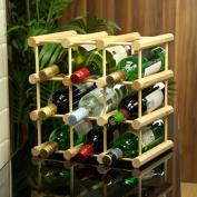 9 Bottle Pine Wine Rack For 75cl Bottles - Traditional Wooden Wine Storage
