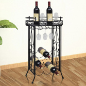 Anself Metal Wine Rack Wine Table With Hooks For 9 Bottles