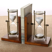 Oak Bronze Flip Hourglass Book Stand Wood Book By European Style Home Furnishings Bookcase Desk Decoration,Brown