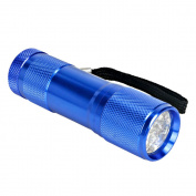9 Led Super Bright Aluminium Torch Assorted Colours Flashlight On/off Button
