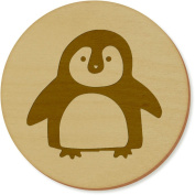 6 x 'Cute Penguin' 95mm Round Wooden Coasters