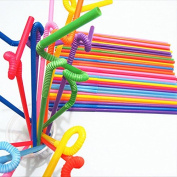 Welecom 100 Pcs Colourful Flexible Disposable Extra Long Plastic Drinking Straw