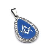 Masonic Freemasonry Ladies Gift Blue Oval Pendent