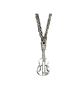Music Lover Playing Vintage Silver Guitar Shaped Pendant Summer Style Women Men Choker Necklace Jewellery