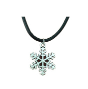 Vintage Leather Cord Antique Silver Snow Flowers Snowflake Pendant Necklace for Women Christmas Birthday Gifts Jewellery