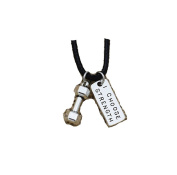 Silver Dumbbell I CHOOSE STRENGTH Charm Pendant Weightlifting Crossfit Gym Leather Necklace Fitness Jewellery