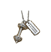 """Weakness is a Choice"" Sports Gym Keep Balance Weight Fit Weightlifting Silver Dumbbell Barbell Pendant Necklace"