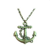 Vintage Bronze Anchor Pendant Necklace Gift for Girls Women Men Retro Sailing Lucky Anchor Jewellery