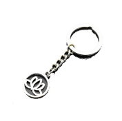 Vintage Buddhism Antique Symbol Silver Lotus Flower Pendant Keychain for Women Men Gifts
