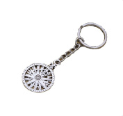 Silver Round Flower Lily Disc Anchor Pendant Keychain Ring Hollow Flower Pattern Design Keychain