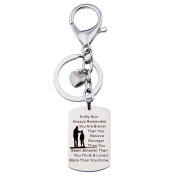 To My Son Always Remember You Are Braver Than You Believe Hand Stamped Pendant Necklace Keychain