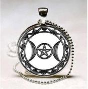 Triple Moon Goddess Pendant, Triple Moon Goddess Necklace, Triple Moon Goddess Triple Moon Goddess Charm, Silver